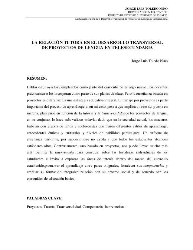 La Relación Tutora en la Transversalidad de los Proyectos de Lengua en Telesecundaria