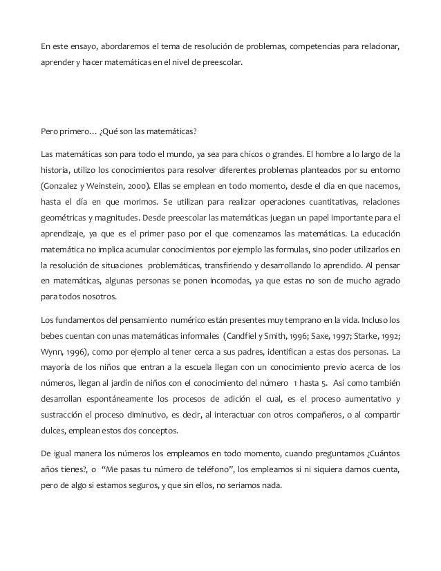 En este ensayo, abordaremos el tema de resolución de problemas, competencias para relacionar, aprender y hacer matemáticas...