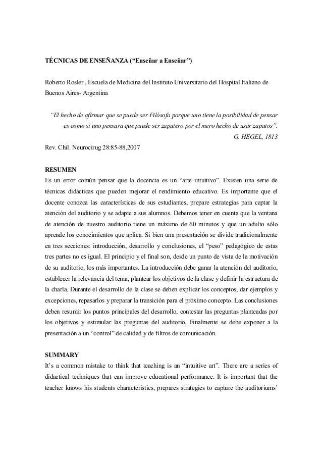 """TÉCNICAS DE ENSEÑANZA (""""Enseñar a Enseñar"""") Roberto Rosler , Escuela de Medicina del Instituto Universitario del Hospital ..."""