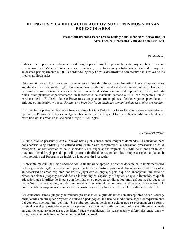 EL INGLES Y LA EDUCACION AUDIOVISUAL EN NIÑOS Y NIÑAS                       PREESCOLARES                               Pre...
