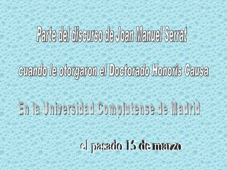 Enseñanzas de Serrat