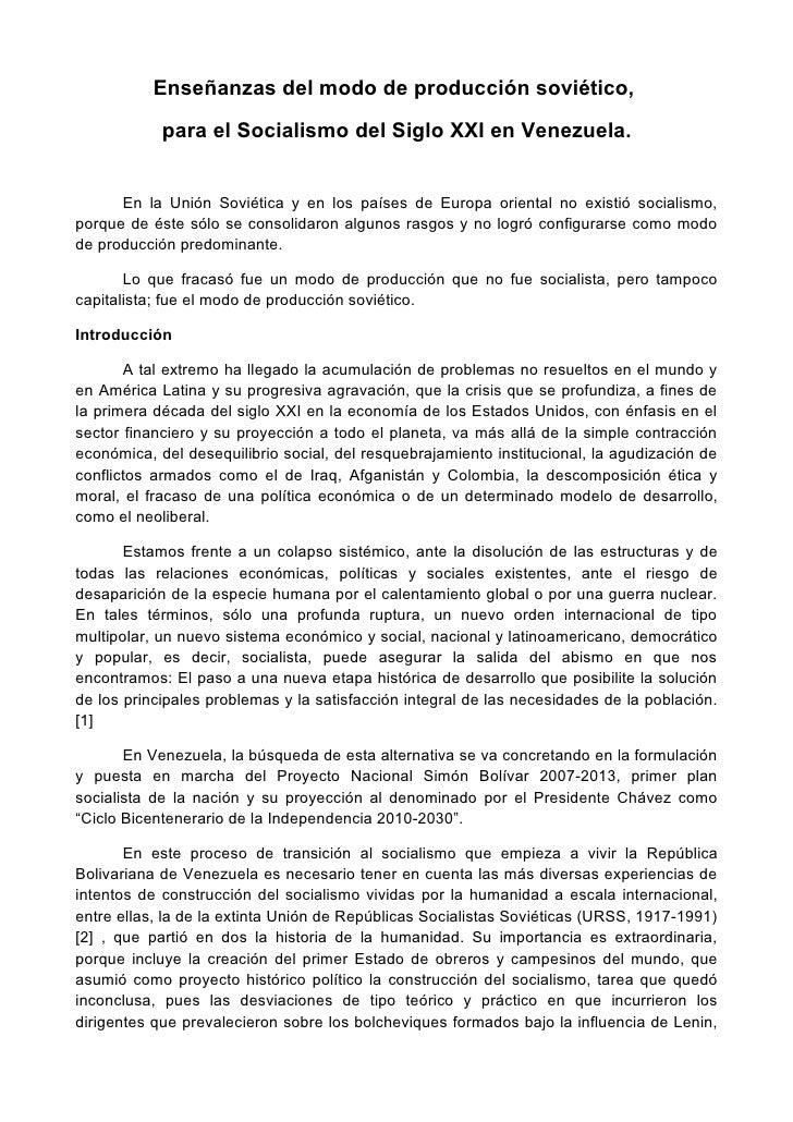 Enseñanzas del modo de producción soviético para el socialismo del siglo xxi en venezuela