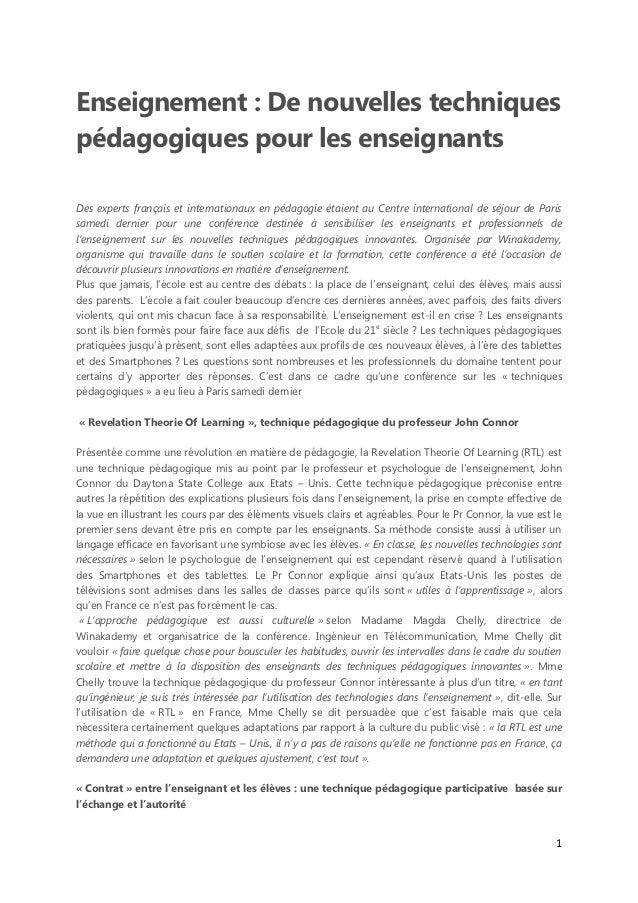 Enseignement : De nouvelles techniquespédagogiques pour les enseignantsDes experts français et internationaux en pédagogie...