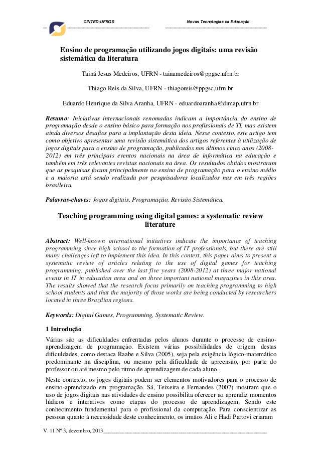 Ensino de programação utilizando jogos digitais: uma revisão sistemática da literatura