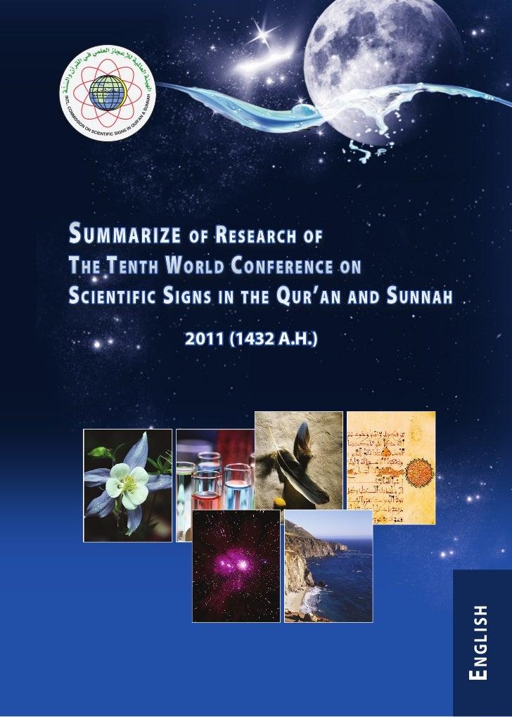 En summarize of_research_of_the_tenth_world_conference_on_scientific      ملخصات بحوث المؤتمر العالمي العاشر للإعجاز العلمي في القرآن والسنة 1432 - 2011 م