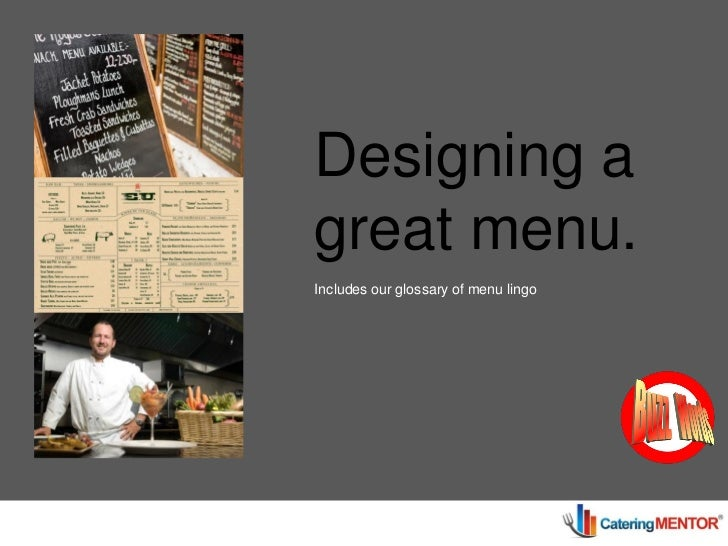 Designing a                great menu.                Includes our glossary of menu lingoGuide Book #4