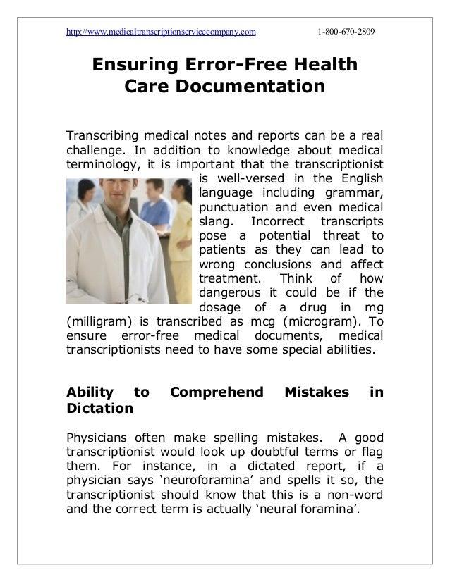 Ensuring Error-Free Health Care Documentation