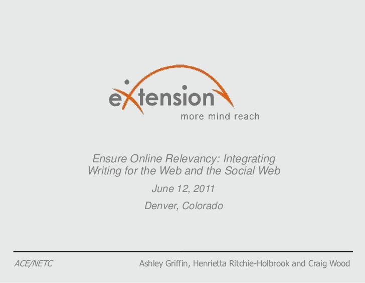 Ensure Online Relevancy: Integrating Writing for the Web and the Social Web<br />June 12, 2011<br />Denver, Colorado<br />...