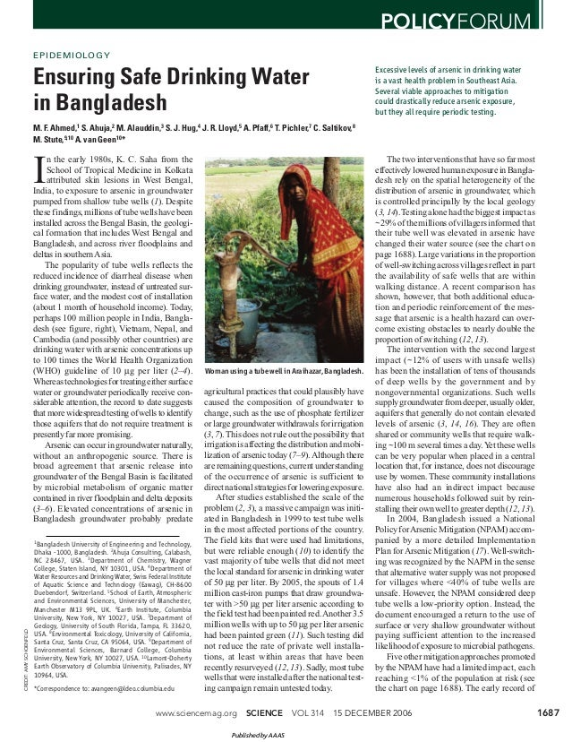 Ensuring safe drinking water in bangladesh