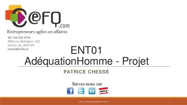 Entrepreneurs agiles en affaires Tel: 514-521-5733 4080,rue Wellington -310 Verdun, Qc, H4G 1V4 reussir@cefq.ca  ENT01 Adé...