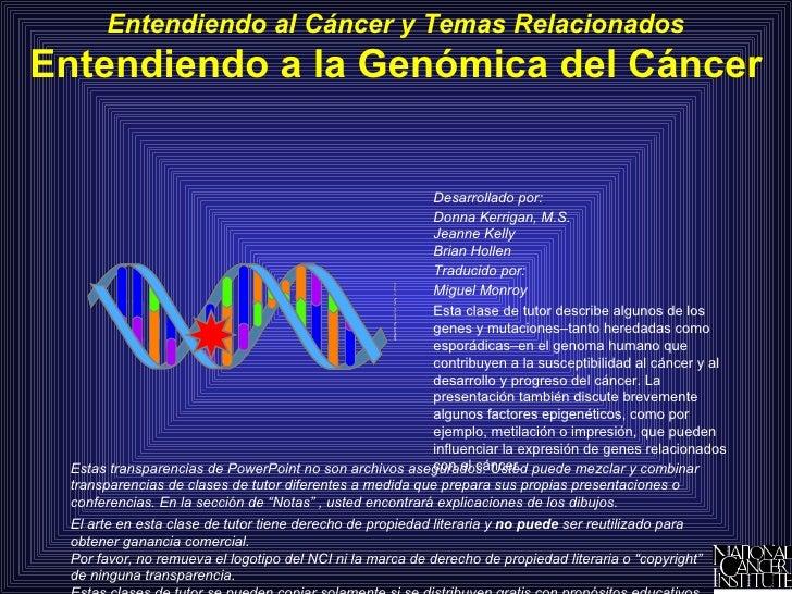Entendiendo A La Genomica Del Cancer