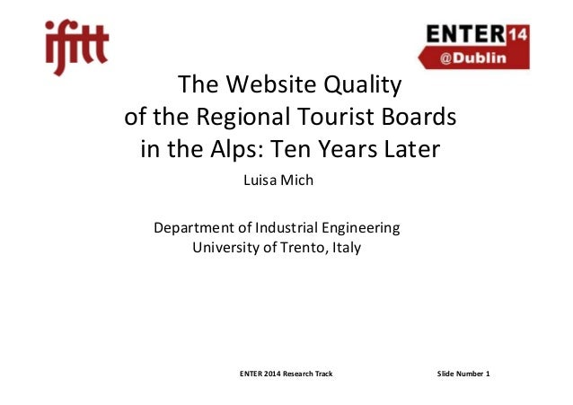 Enter2014 mich website quality regional tourist boards  alps  10 years later