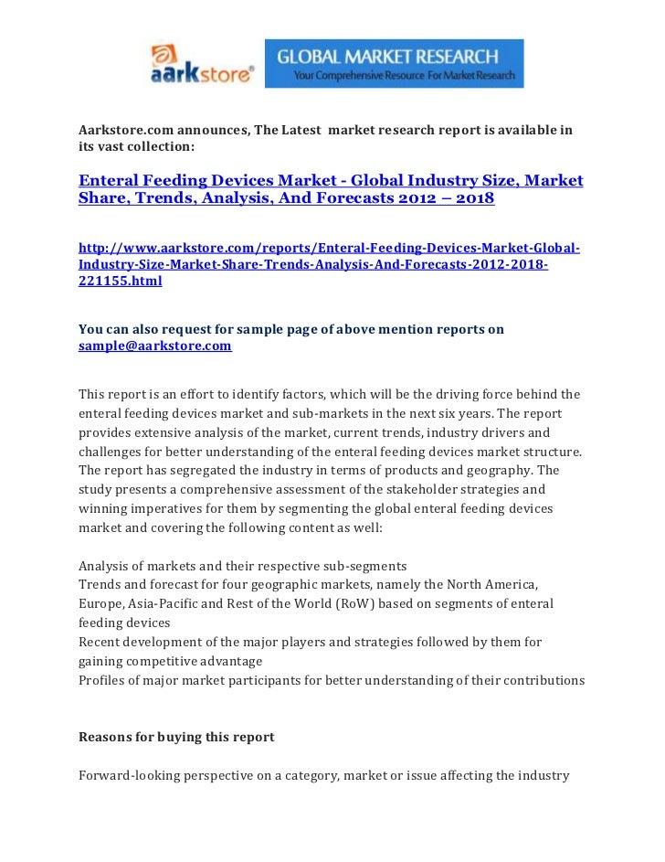 Enteral feeding devices market   global