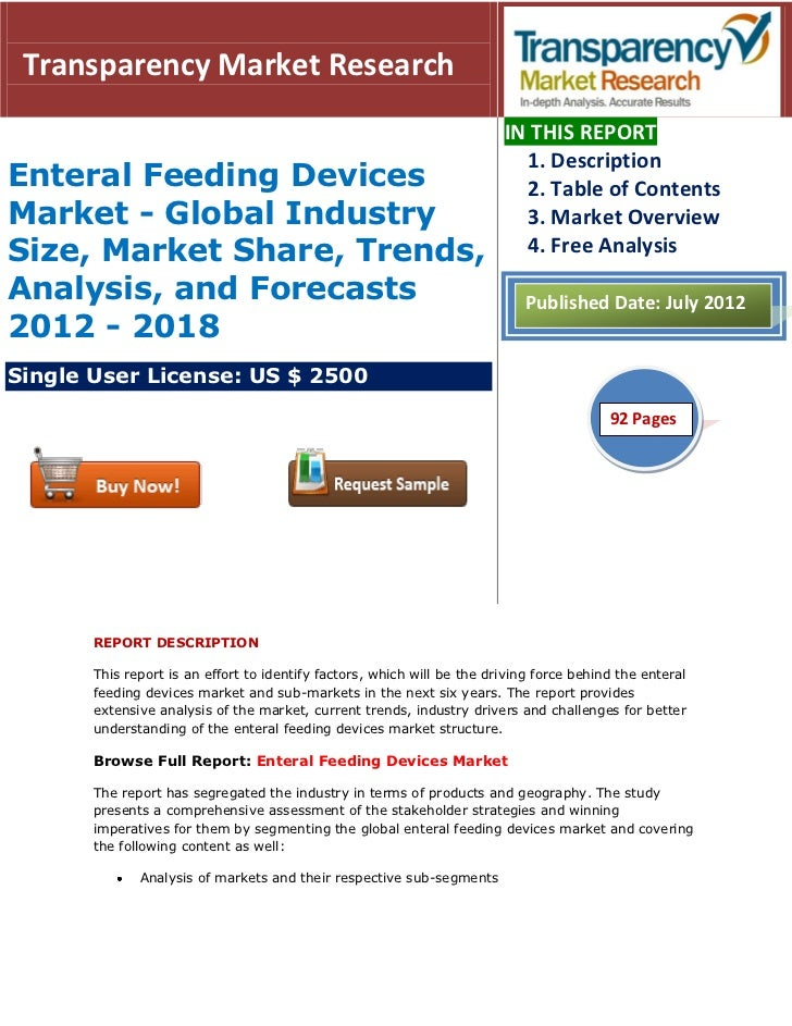 Enteral feeding devices market   global industry size, market share, trends, analysis, and forecasts 2012 - 2018