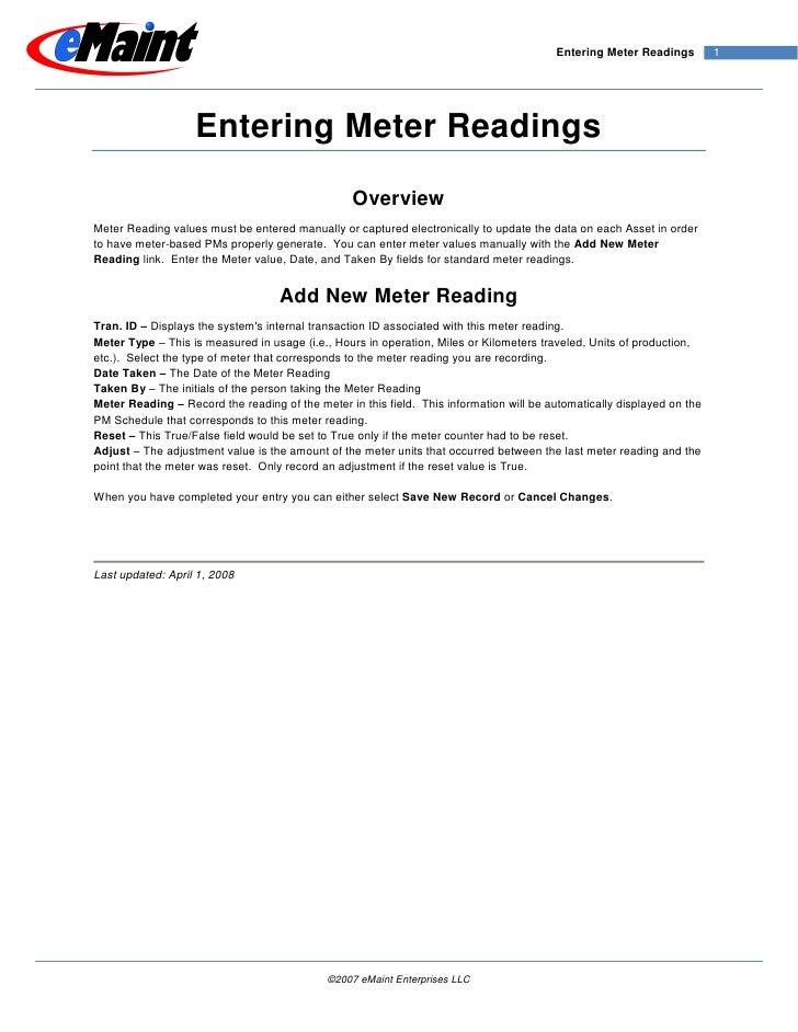 Entering Meter Readings