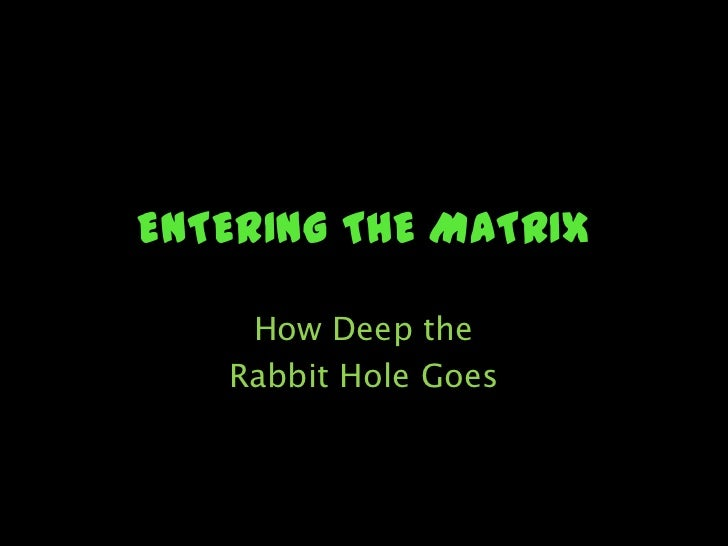 ENTERING THE MATRIX<br />How Deep the <br />Rabbit Hole Goes<br />