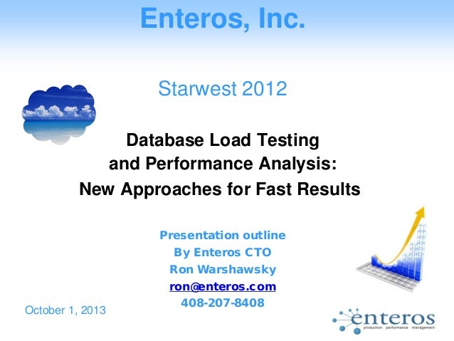Enteros, Inc. Starwest 2012 Database Load Testing and Performance Analysis: New Approaches for Fast Results Presentation o...