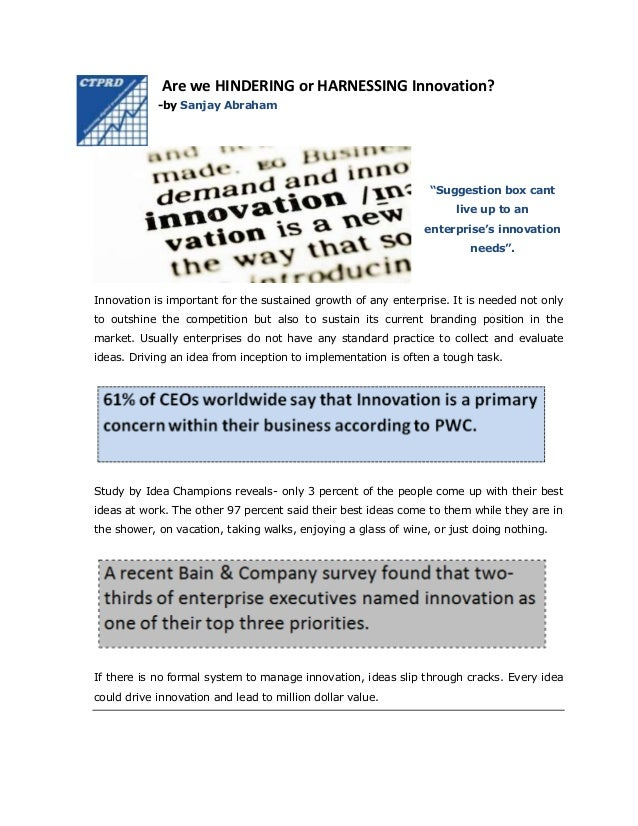 """Are we HINDERING or HARNESSING Innovation? -by Sanjay Abraham  """"Suggestion box cant live up to an enterprise's innovation ..."""