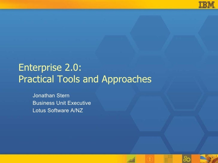 Enterprise 2.0:  Practical Tools and Approaches Jonathan Stern Business Unit Executive Lotus Software A/NZ