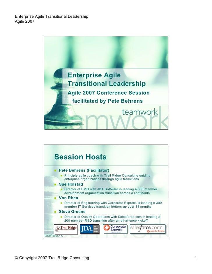 Enterprise Agile Transitional Leadership