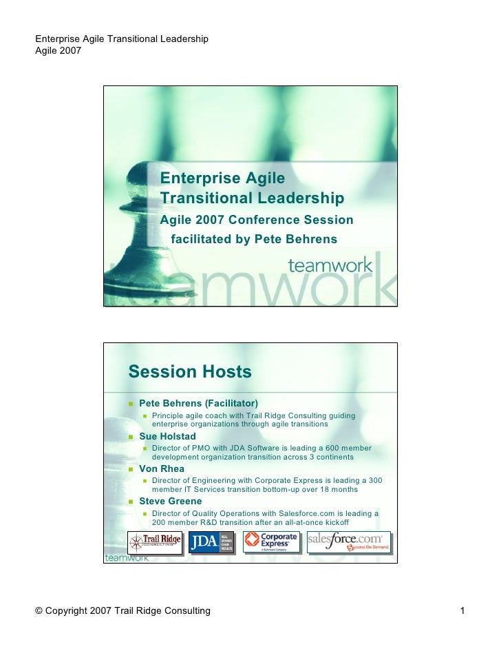 Enterprise Agile Transitional Leadership