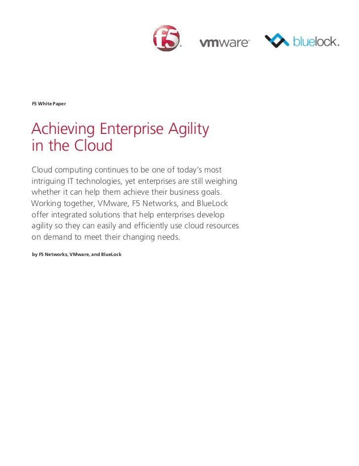 Enterprise agility for the Cloud