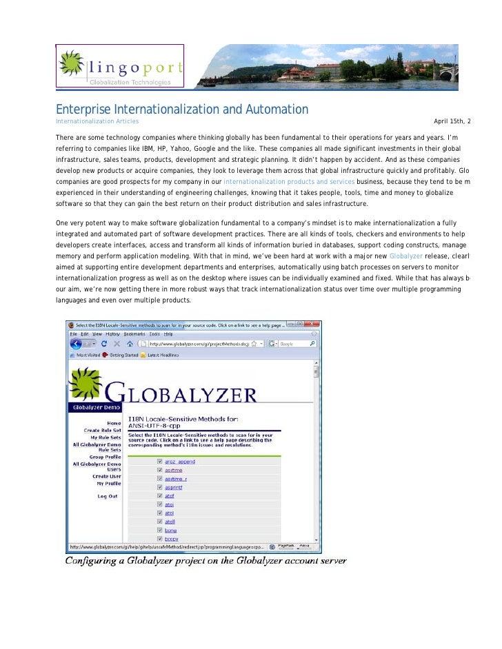 Enterprise Internationalization and Automation Internationalization Articles                                              ...