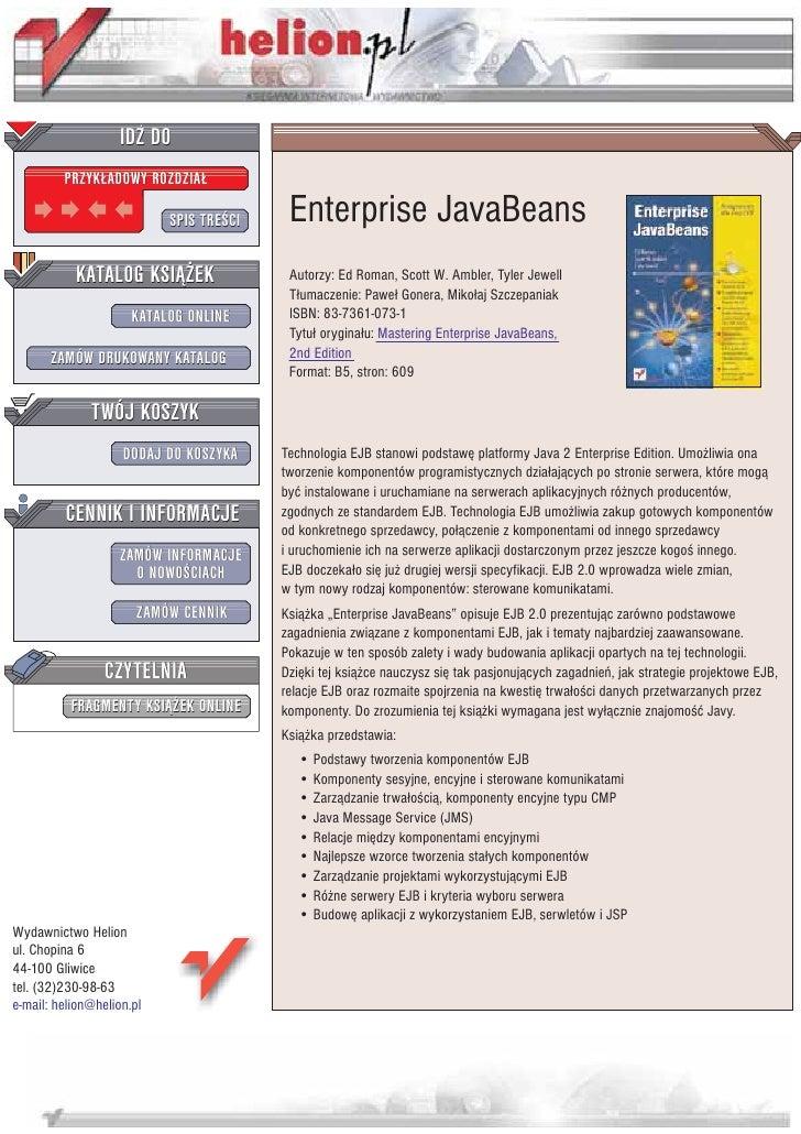 IDZ DO          PRZYK£ADOWY ROZDZIA£                             SPIS TRE CI    Enterprise JavaBeans            KATALOG KS...