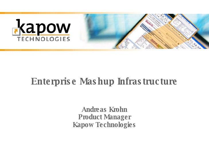 Enterprise Mashup Infrastructure Andreas Krohn Product Manager Kapow Technologies