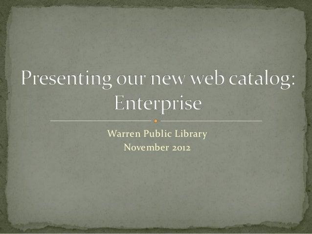 Enterprise - New Warren Public Library Catalog