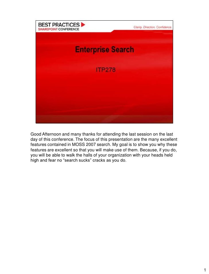 Enterprise Search Share Point2009 Best Practices Final