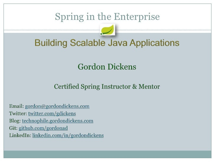 Enterprise Spring Building Scalable Applications