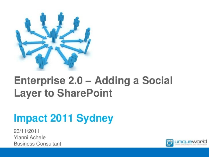 Enterprise 2.0 – Adding a SocialLayer to SharePointImpact 2011 Sydney23/11/2011Yianni AcheleBusiness Consultant