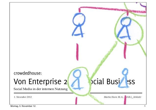 crowdedhouse:  Von Enterprise 2.0 zu Social Business  Social Media in der internen Nutzung  1. November 2012              ...