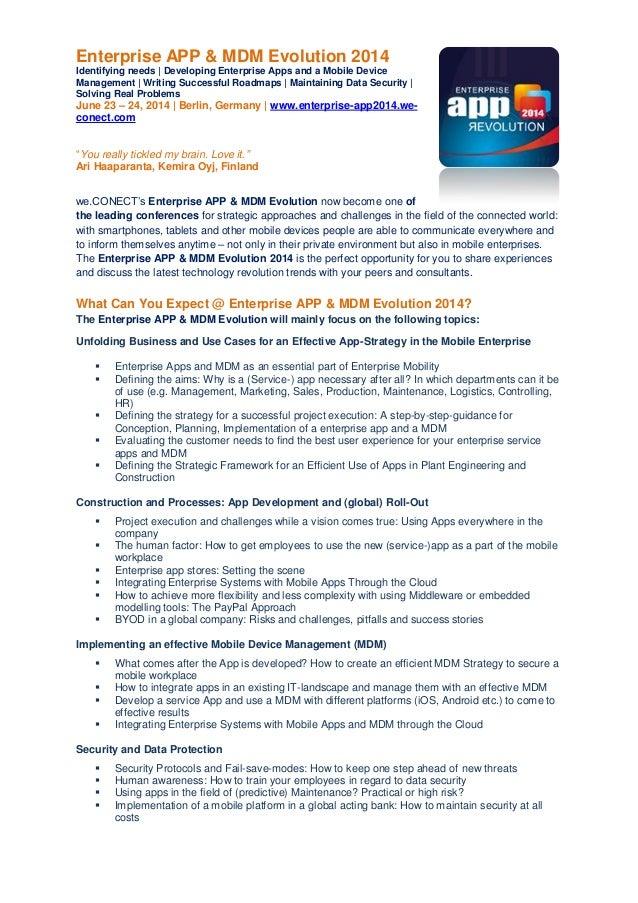 Enterprise APP & MDM Evolution 2014 Identifying needs | Developing Enterprise Apps and a Mobile Device Management | Writin...