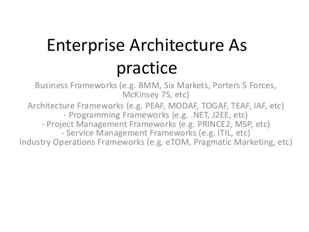 Enterprise Architecture As practice Business Frameworks (e.g. BMM, Six Markets, Porters 5 Forces, McKinsey 7S, etc) Archit...