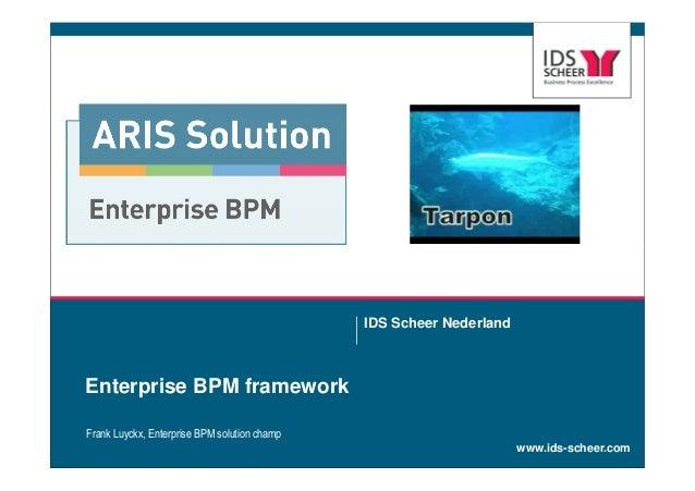 www.ids-scheer.comEnterprise BPM frameworkIDS Scheer NederlandFrank Luyckx, Enterprise BPM solution champ