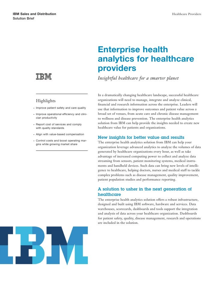 IBM Sales and Distribution                                                                                     Healthcare ...