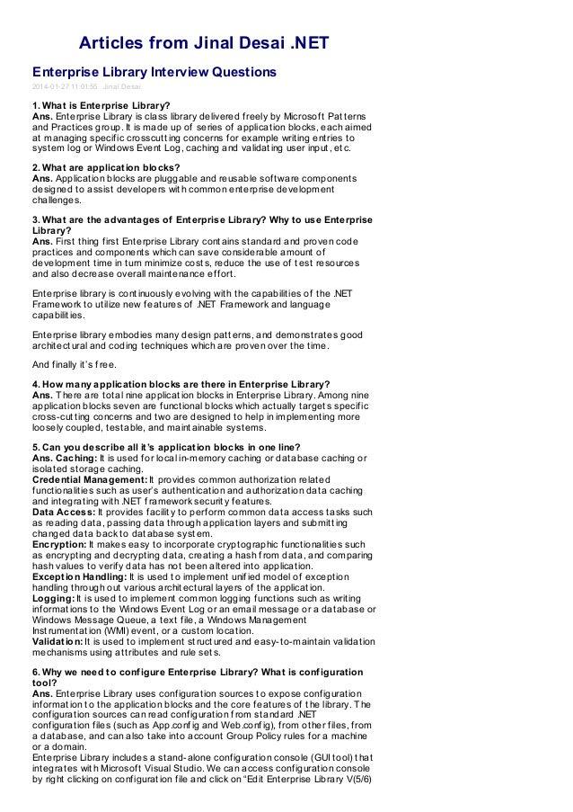 Enterprise Library Interview Questions @ Jinal Desai .NET