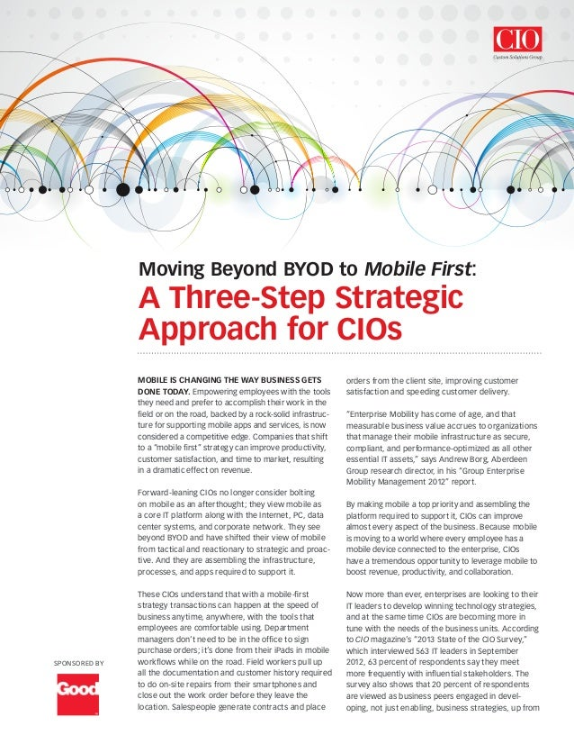Enteprise Mobility: A Three-Step Approach to Winning Technology Strategies for CIOs