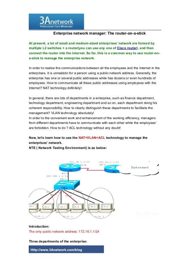 Enterprise Network Manager: the Router-On-A-stick