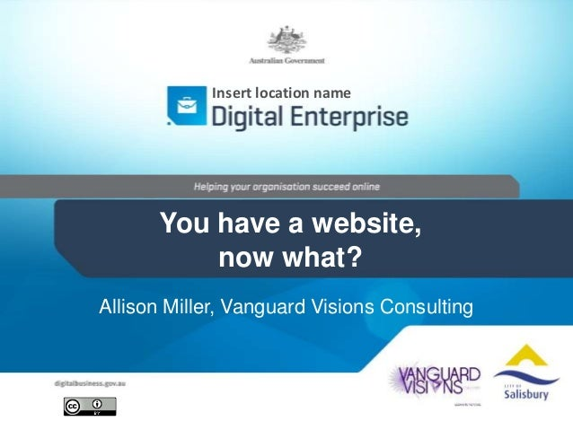 Insert location name  You have a website, now what? Allison Miller, Vanguard Visions Consulting