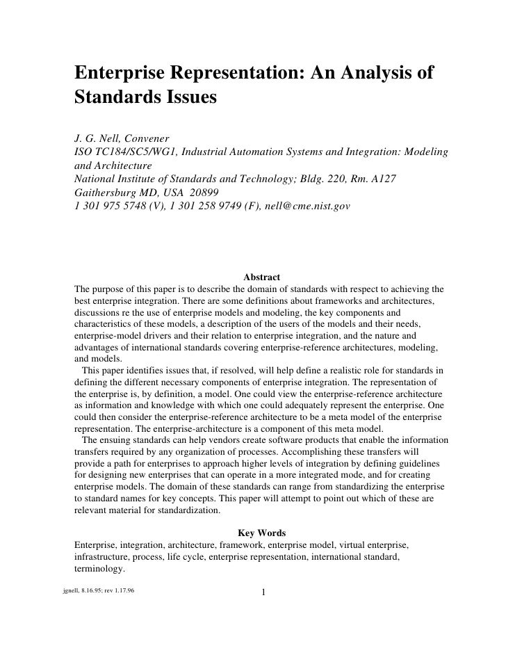 Enterprise Representation An Analysis Of+Standards Issues