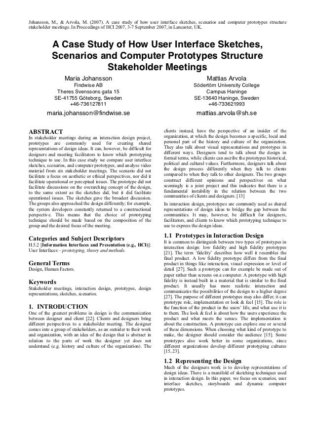 Enterprise Search Research Article: A Case Study of How User Interface Sketches Scenarios and Computer Prototypes Structure Stakeholder Meetings