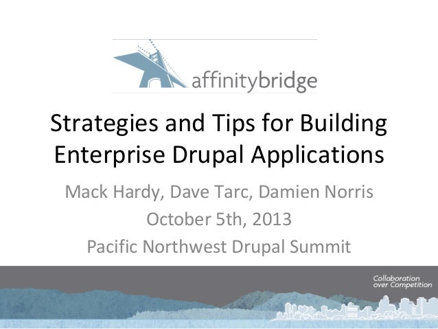Strategies and Tips for Building Enterprise Drupal Applications Mack Hardy, Dave Tarc, Damien Norris October 5th, 2013 Pac...