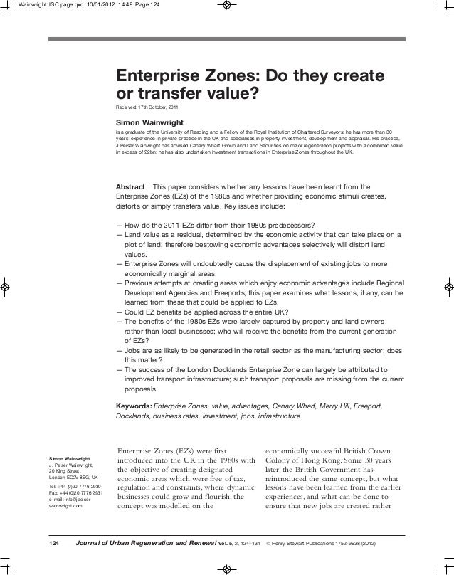 Wainwright:JSC page.qxd 10/01/2012 14:49 Page 124                                     Enterprise Zones: Do they create    ...