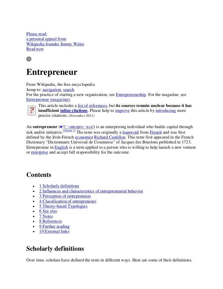 Please read:a personal appeal fromWikipedia founder Jimmy WalesRead nowEntrepreneurFrom Wikipedia, the free encyclopediaJu...