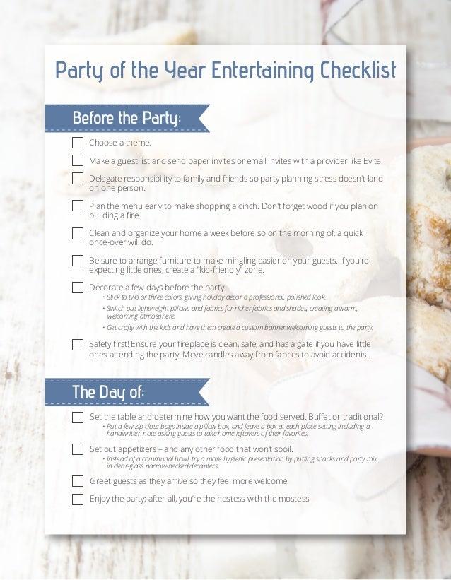 Entertaining Checklist