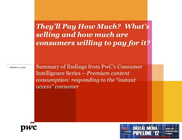 They'll Pay How Much? What's                  selling and how much are                  consumers willing to pay for it?Oc...