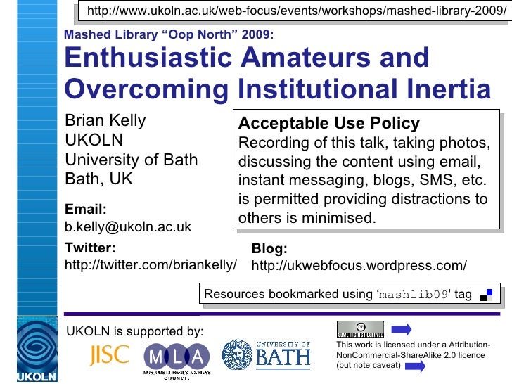 """Enthusiastic Amateurs and Overcoming Institutional Inertia"""